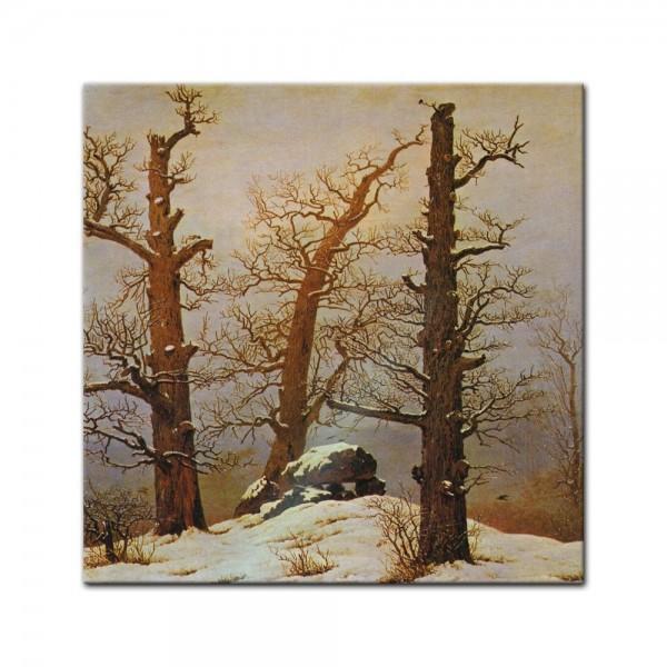 Glasbild Caspar David Friedrich - Alte Meister - Hünengrab im Schnee