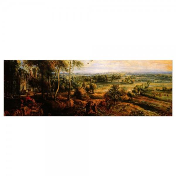 Leinwandbild - Peter Paul Rubens - Landschaft mit Ansicht von Schloss Steen