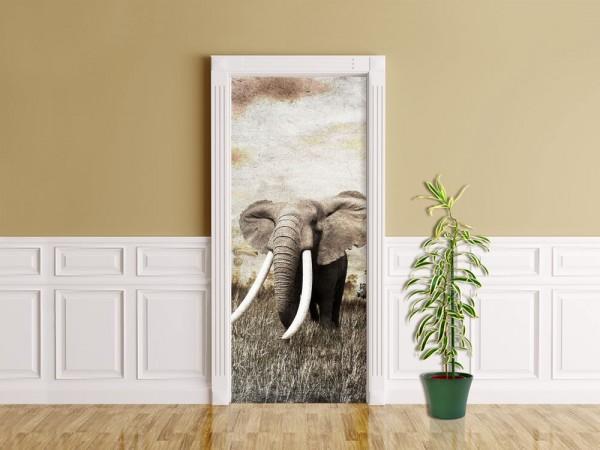 Türaufkleber - Elefanten - Grunge