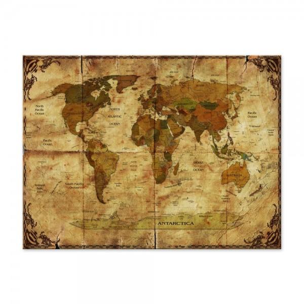 Leinwandbild - Weltkarte retro II Rahmen und Papier