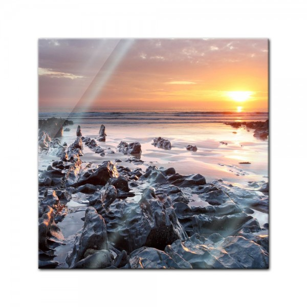 Glasbild - Sonnenuntergang Küste Woolacombe North Devon, England
