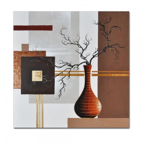 Abstrakte Kunst M3 handgemaltes Leinwandbild 80x80cm - 4cm Galerierahmen! - 803