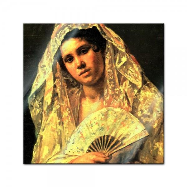 Glasbild Mary Cassatt - Alte Meister - Spanische Tänzerin tragend eine Spitzemantille