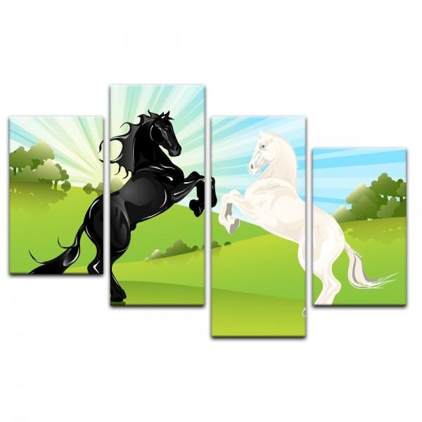 Leinwandbild - Kinderbild - springende Pferde