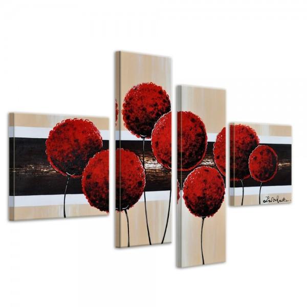 Blumen M3 - Leinwandbild 4 teilig 100x70cm Handgemalt