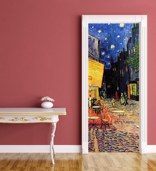 Türaufkleber Vincent van Gogh - Alte Meister - Caféterrasse am Abend