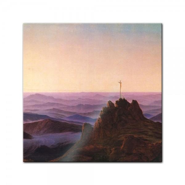 Glasbild Caspar David Friedrich - Alte Meister - Morgen im Riesengebirge