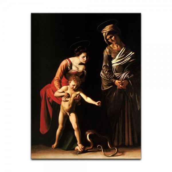 Leinwandbild - Caravaggio - Madonna mit Kind und der heiligen Anna