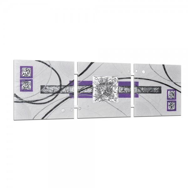 Abstrakte Kunst handgemaltes Wandbild 104x33cm - 3D Struktur - 4005