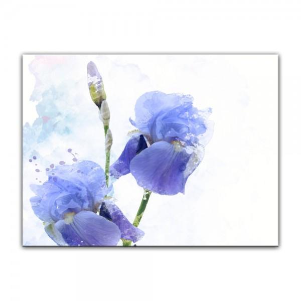 Leinwandbild - Aquarell - Iris Blumen