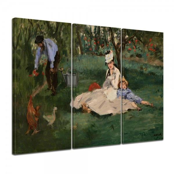 SALE Leinwandbild - Édouard Manet Die Familie Monet in ihrem Garten in Argenteuil - 150x90 cm 3tlg