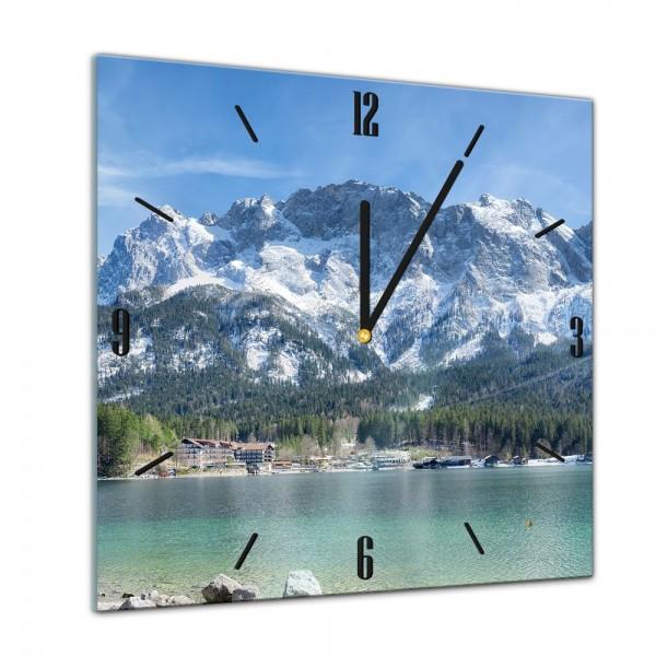 Glasuhr - Städte, Seen & Landschaften - Zugspitzmassiv - Alpen - 40x40cm