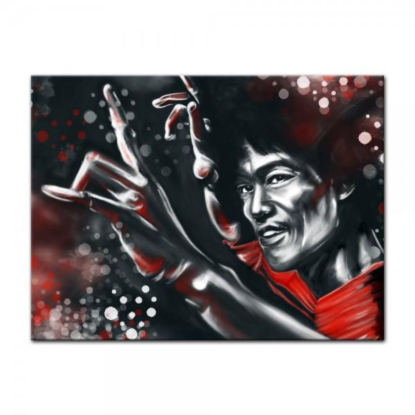 Leinwandbild - Bruce Lee in rot