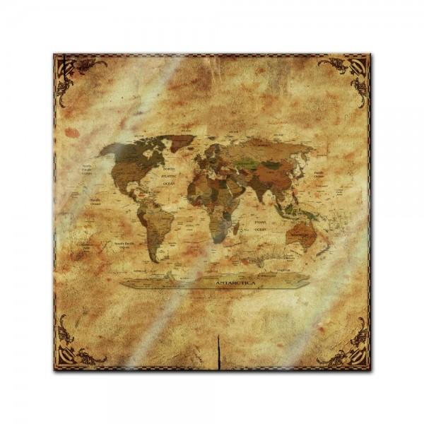 Glasbild - Weltkarte retro II Rahmen