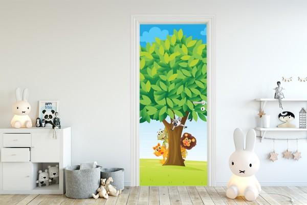 Türaufkleber - Kinderbild Baum mit Tieren