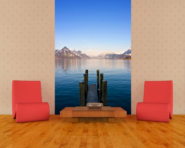 SALE Fototapete Steg am Bergsee - 150 cm x 230 cm - farbig