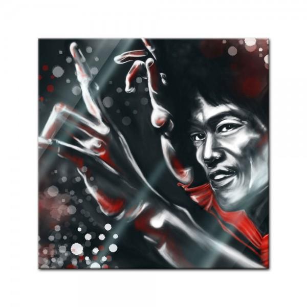 Glasbild - Bruce Lee in rot
