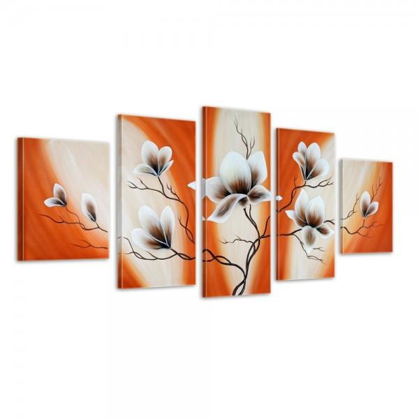 Magnolie - Leinwandbild 5 teilig 150x70cm Handgemalt