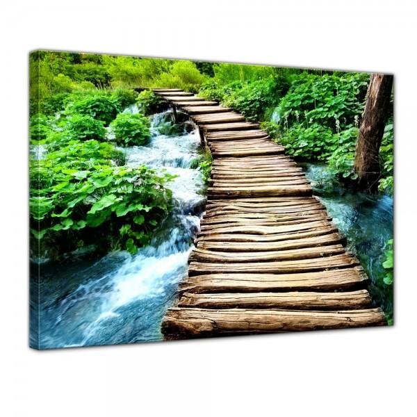SALE Leinwandbild - Brücke über einen Fluss - 40x30 cm