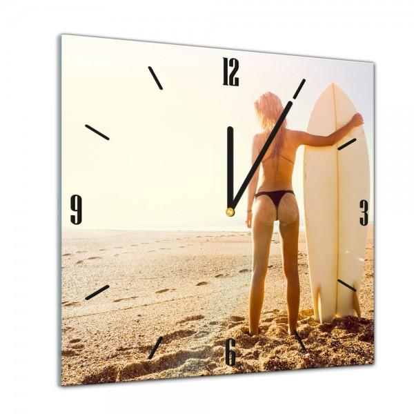 Glasuhr - Sonne, Strand und Meer - Surfer Girl - 40x40cm