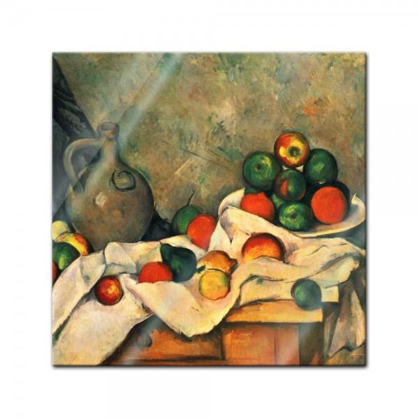 Glasbild Paul Cézanne - Alte Meister - Stillleben mit Vorhang, Krug und Obstschale