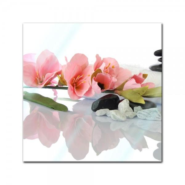 Glasbild - Orchidee und Zen Steine