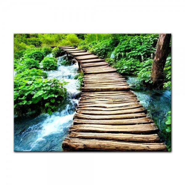 Leinwandbild - Brücke über einen Fluß