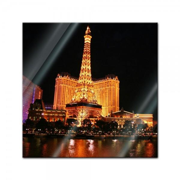Glasbild - Abend in Las Vegas