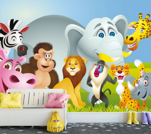 Fototapete - Kinderbild Tiere Cartoon