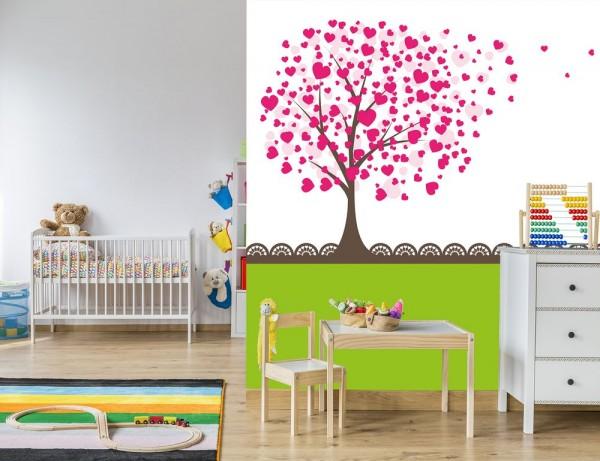 selbstklebende Fototapete - Kinderbild - Baum aus Herzen II - Herzbaum