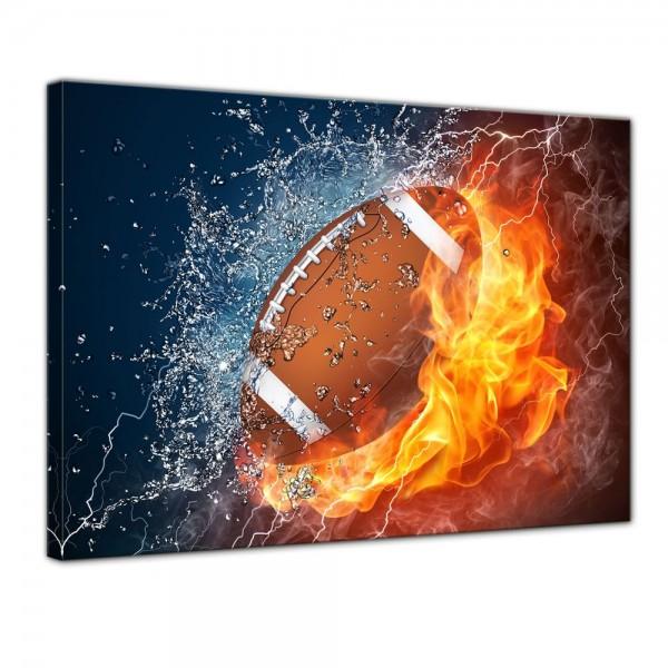 SALE Leinwandbild - Football - Feuer und Eis - 120x90 cm