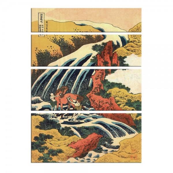 Leinwandbild - Katsushika Hokusai - Yoshitsune Umarai Wasserfall