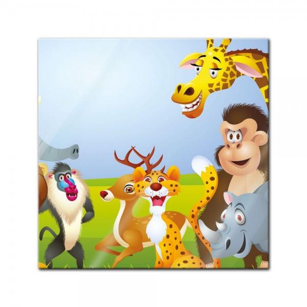 Glasbild - Kinderbild Tiere Cartoon V
