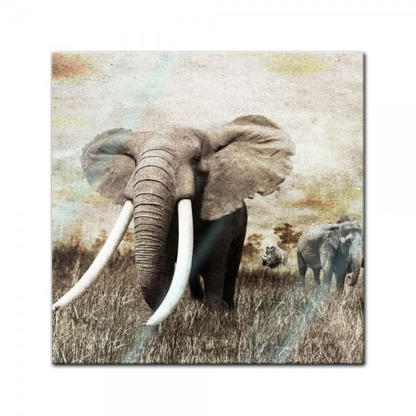 Glasbild - Elefanten - Grunge