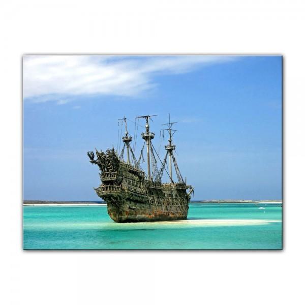 Leinwandbild - Piratenschiff in der Karibik