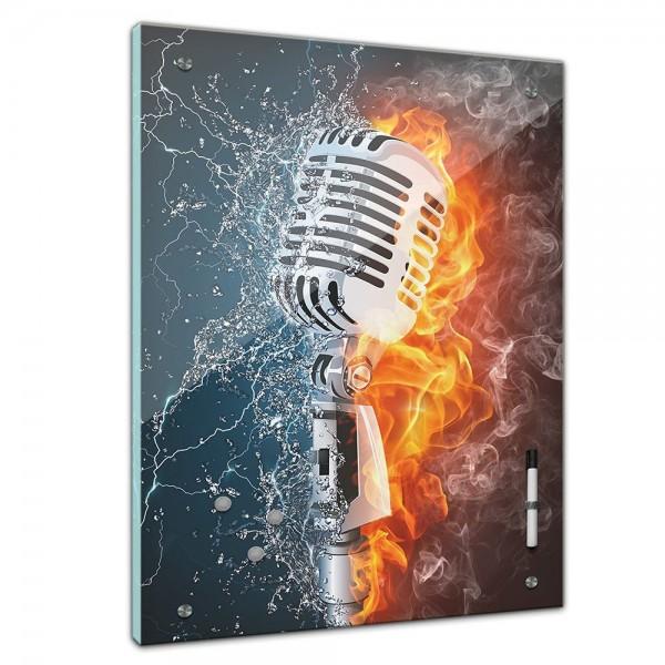 Memoboard - Männermotive - Microphone Feuer und Wasser