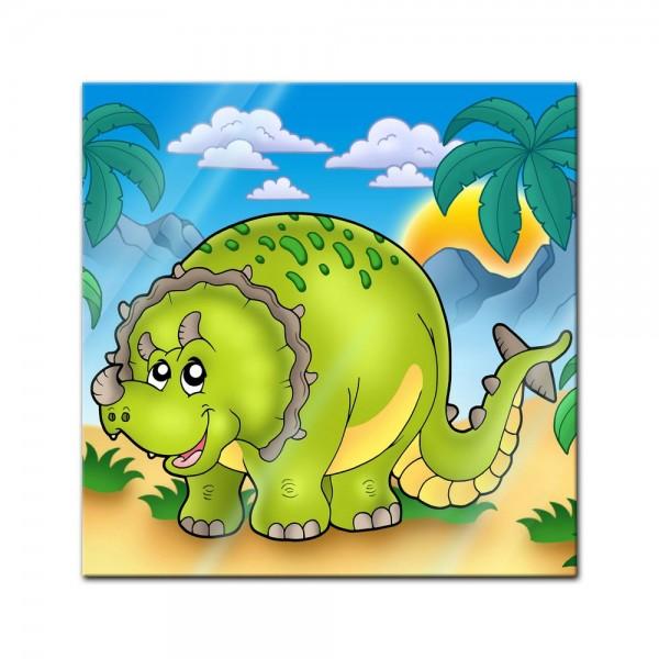 Glasbild - Dino Kinderbild - Triceratops