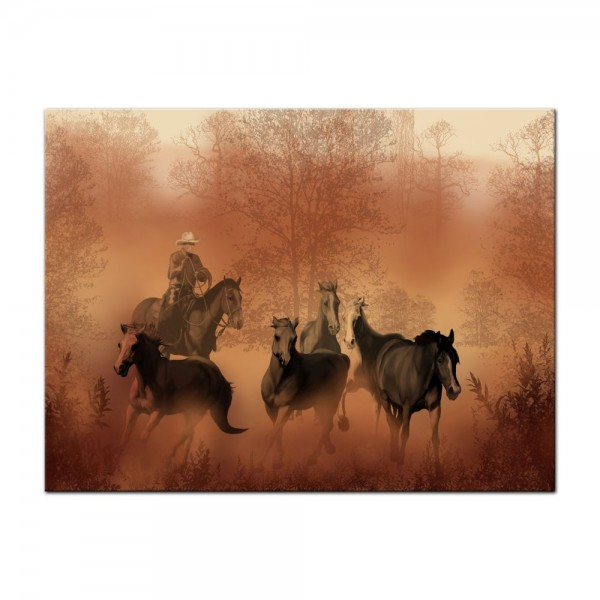 Leinwandbild - Cowboy mit Pferden