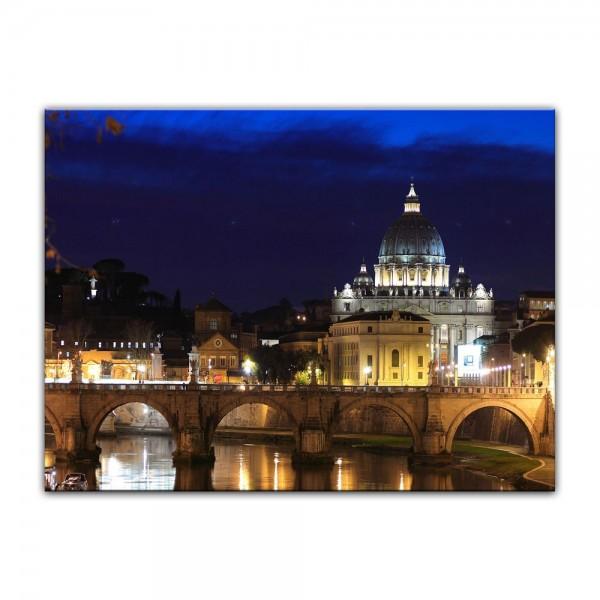 Leinwandbild - Vatican at Night from Ponte Umberto Uno