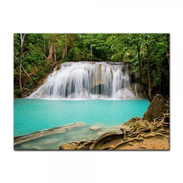 Leinwandbild - Dschungel Wasserfall in Thailand, Provinz Kanchanaburi