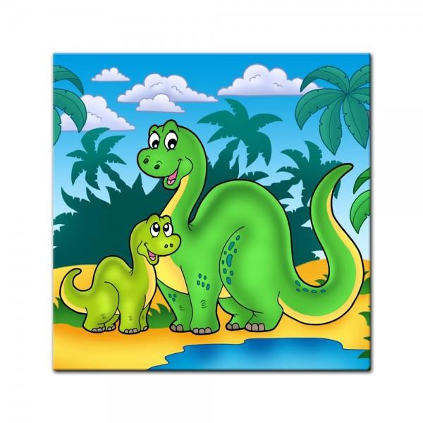 Leinwandbild - Dino Kinderbild - Familie