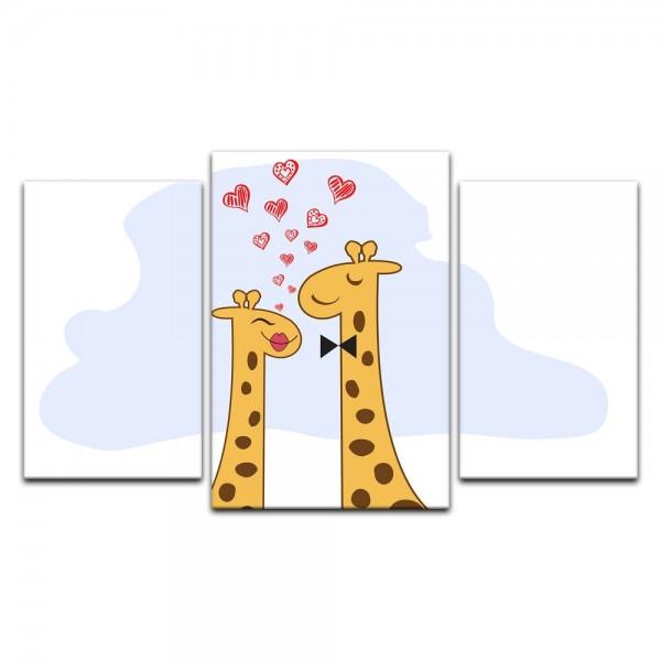 Leinwandbild - Kinderbild - verliebte Giraffen II Cartoon