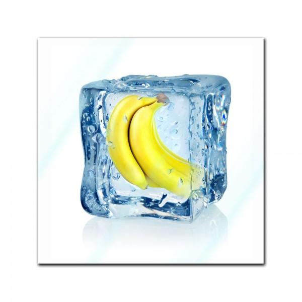 Glasbild - Eiswürfel Banane