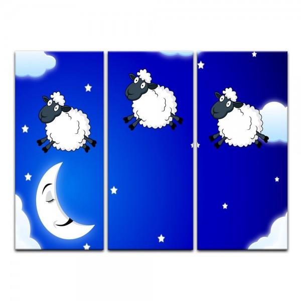 Leinwandbild - Kinderbild - Schäfchen zählen II Cartoon