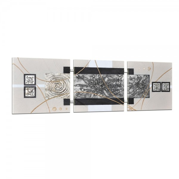 Abstrakte Kunst handgemaltes Wandbild 104x33cm - 3D Struktur - 4002