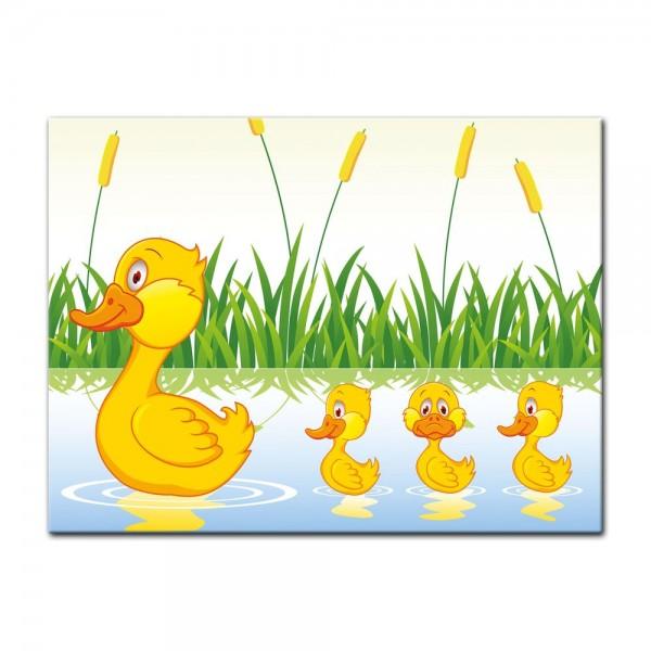 Leinwandbild - Kinderbild - Entenfamilie