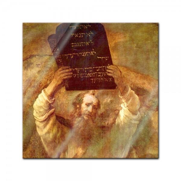 Glasbild Rembrandt - Alte Meister - Moses mit den Gesetzestafeln