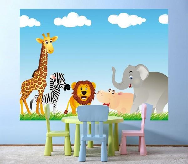 Fototapete - Kinderbild Tiere Cartoon VI