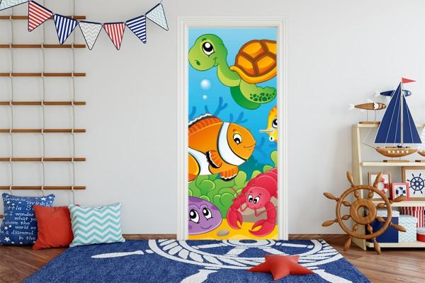 Türaufkleber - Kinderbild Unterwasser Tiere VI
