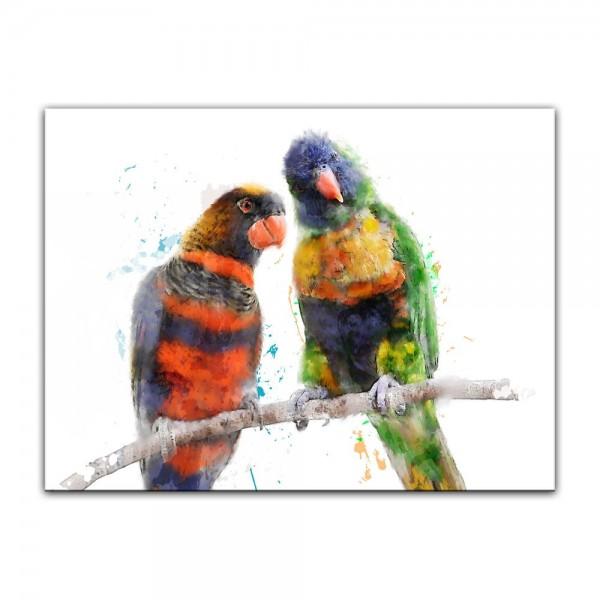 Leinwandbild - Aquarell - Papageien III